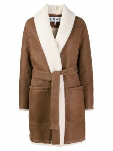 Loewe belted shearling coat - Brown