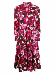 Prada rose print pleated dress - Pink