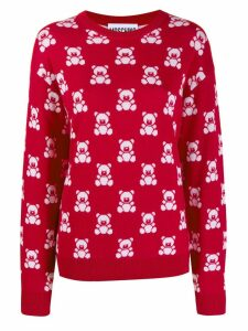 Moschino teddy bear intarsia jumper - Red