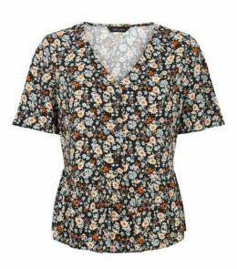 Black Floral Button Up Peplum Shirt New Look