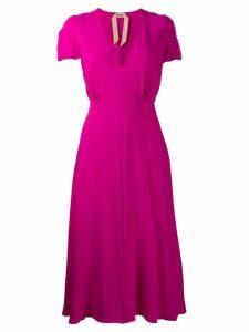 Nº21 short-sleeved flared dress - Pink