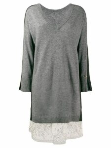 Twin-Set lurex band slip dress - Grey