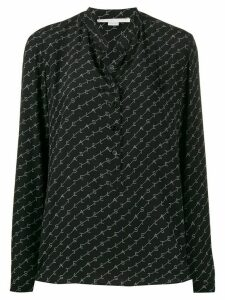 Stella McCartney logo print silk shirt - Black