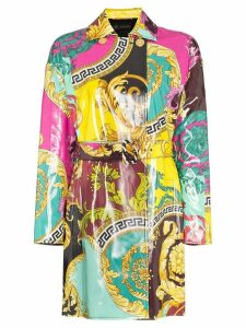 Versace Baroque print mac coat - Purple