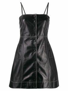 Ganni contrast stitching leather mini dress - Black