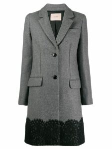 Twin-Set lace appliqué coat - Grey