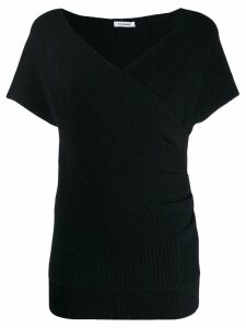 P.A.R.O.S.H. wrap-style knitted top - Black