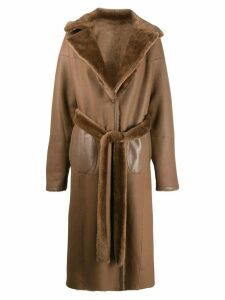 Liska fur-trimmed trench coat - Brown