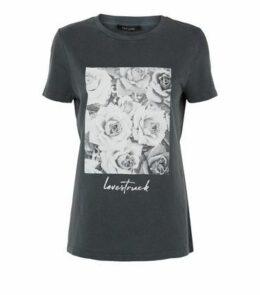 Grey Rose Love Struck Slogan Acid Wash T-Shirt New Look