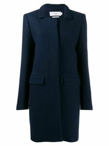 Closed single-breasted fitted coat - Blue