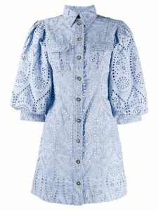 Ganni lace shirt dress - Blue