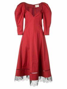 Khaite puff sleeve lace hem dress - Red