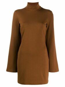 Sara Battaglia short turtleneck dress - Brown