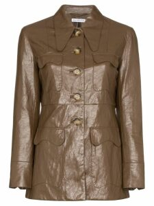 Rejina Pyo faux leather single-breasted blazer - Brown