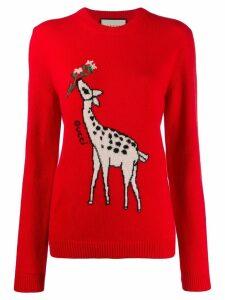 Gucci giraffe intarsia sweater - Red