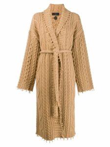 Alanui cable-knit longline cardigan - Brown