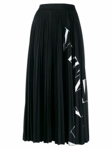 Valentino logo printed-panel midi skirt - Black