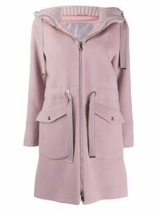 Herno hooded zip-up coat - PINK