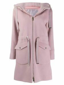 Herno hooded zip-up coat - Pink