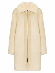 Bottega Veneta reversible shearling mid-length coat - Neutrals