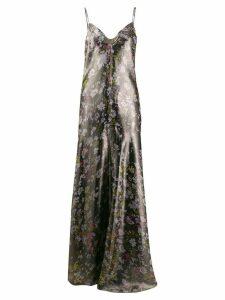 Ganni floral slip dress - Black