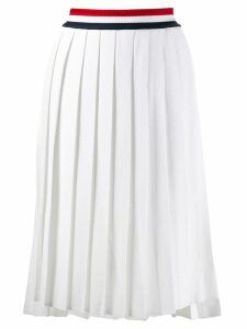 Thom Browne stripe waist pleated skirt - White