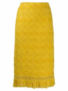 Ermanno Scervino geometric embroidery skirt - Yellow