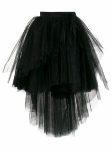Brognano tulle asymmetric hem skirt - Black
