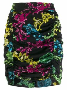 Versace Jeans Couture floral brocade mini-skirt - Black