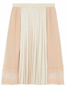 Burberry Lace Detail Silk Panel Pleated Skirt - Pink