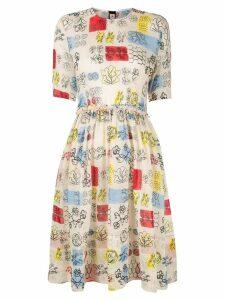 Marni printed flared dress - Neutrals