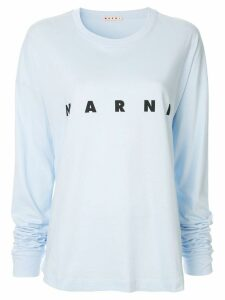 Marni logo print long-sleeved T-shirt - Blue