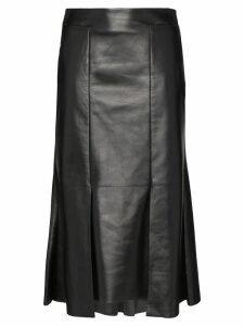 Alexander McQueen asymmetric flared midi leather skirt - Black