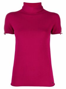 Twin-Set Mother of Pearl cuff turtleneck top - Red