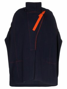 Chloé hooded poncho coat - Blue
