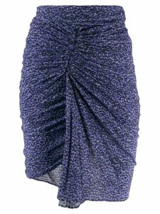 Isabel Marant ruched leopard print skirt - Blue