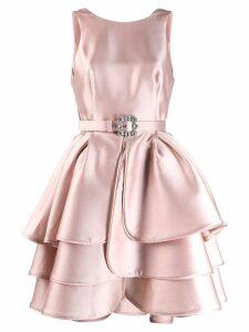 Alberta Ferretti belted ruffle dress - Pink