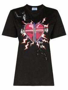 Prada embellished Heart print T-shirt - Black