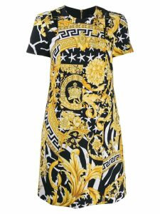 Versace baroque print short dress - GOLD