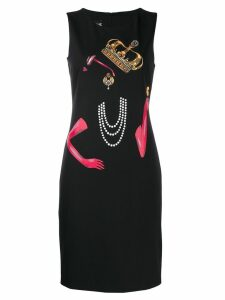 Boutique Moschino Queen print midi dress - Black