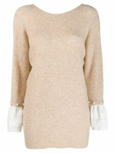 3.1 Phillip Lim faux pearl sleeve detailed sweater - Neutrals