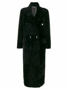 Simonetta Ravizza shearling double breasted coat - Black