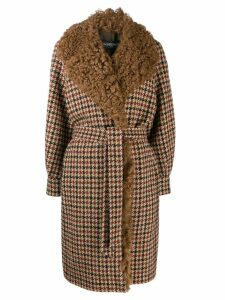 Simonetta Ravizza shearling checked coat - NEUTRALS