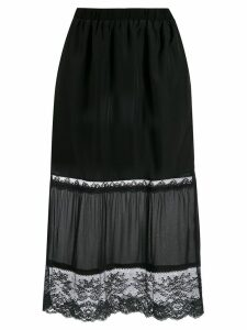 Twin-Set lace detail fitted skirt - Black