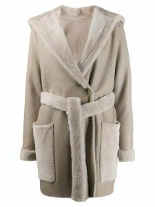Liska belted leather coat - Neutrals