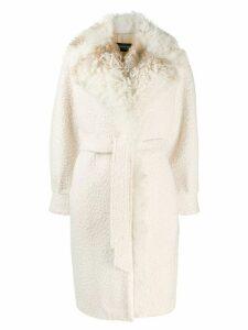Simonetta Ravizza shearling belted coat - NEUTRALS