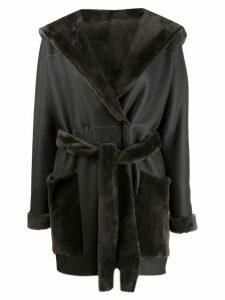 Liska belted lamb skin coat - Black