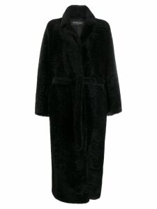Simonetta Ravizza shearling long coat - Black
