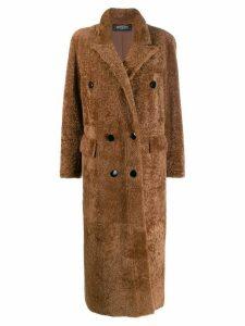 Simonetta Ravizza shearling double breasted coat - Brown