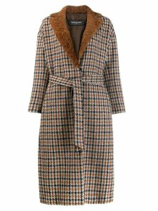 Simonetta Ravizza shearling checked coat - Brown